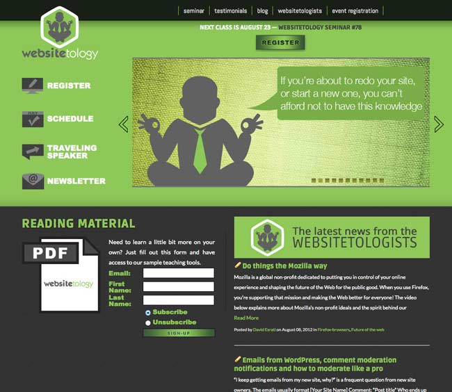 Screenshot of the new Websitetology Site