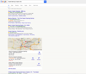 Screen shot of Google new search results 2016