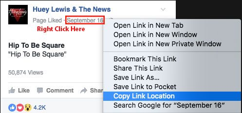 Copying the link location of a Facebook video