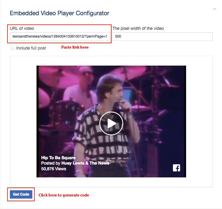 Generating the video player code