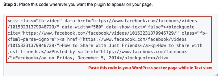 Example of Facebook video embed code