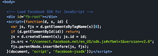 Example of Facebook's Javascript SDK included below the <body> tag.